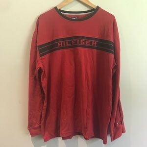 Men's long sleeve red Tommy Hilfiger top